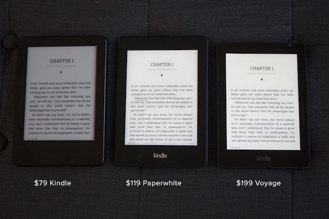 Compare Kindle and Kindle Paperwhite under Dark