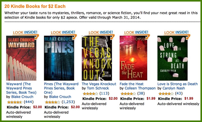 20 Kindle Books for $2 Each Discount in March 2014