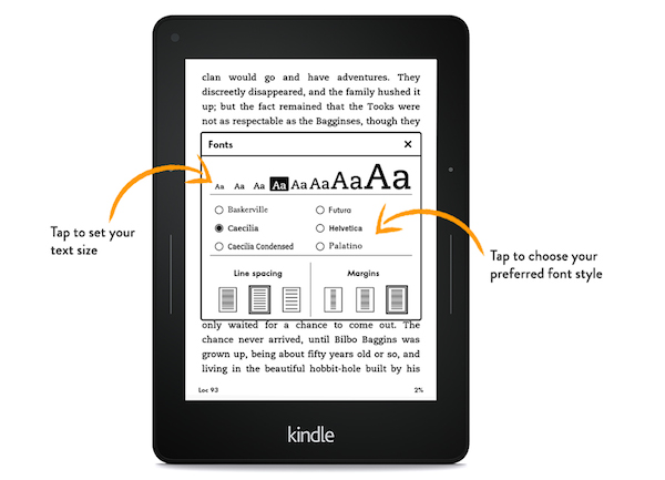 Kindle Voyage Adjustable Text Size